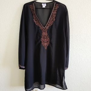 Always For Me Black & Gold Beaded Tunic Top